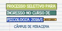 Processo Seletivo Psicologia 2016/1