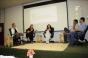 Sarah, Graziela, Marluce, Araújo e Gomes (e p/ d) compuseram a mesa de debates do Simpósio (Foto: Bárbara Freitas/Divulgação)